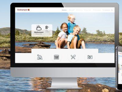 Sommervisning av forsiden på desktop og mobil